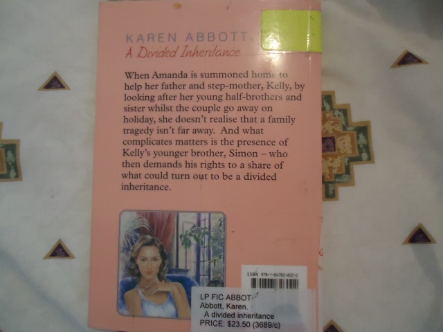 book cover a divided inheritance by karen abbott - pic linda randall the idea girl says wordpress blog