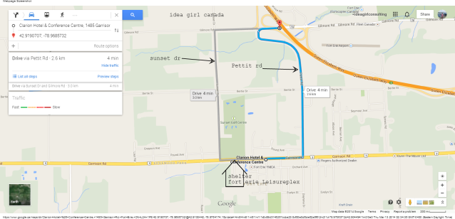 Clarion Hotel & Conference Center Fort Erie (peace bridge garrison rd) to QEW Pettit Rd or Sunset Dr Google Maps idea girl canada