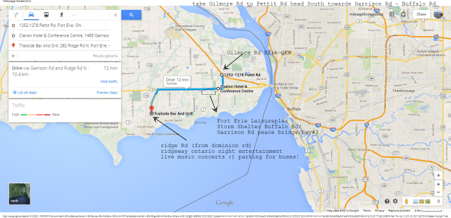 QEW Pettit Rd to Garrison Rd Clarion HOtel Leisurplex Shelter Trailside Bar Ridgeway Ridge Rd N Google Maps idea girl canada