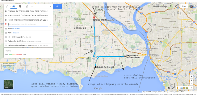 QEW Sodom Rd Gorham Rd Garrison Rd Clarion Hotel Leisureplex Shelter Trailside Bar Ridge Rd N Ridgeway Google Maps (2) idea girl canada