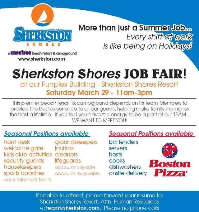 sherkston shores job fair sat march 29 2014 11 am to 3pm - funplex building in resort