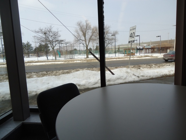 tables chairs inside fort erie public library overlook tennis courts central ave at gilmore rd linda randall 10 mar 2013 snowy day