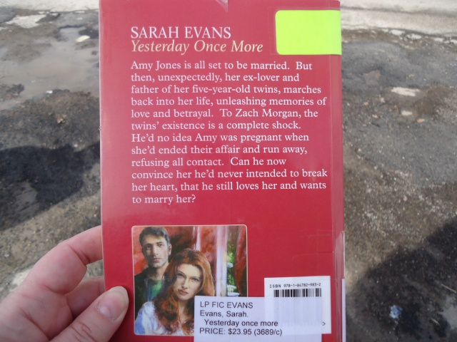 Yesterday Once More book cover author Sarah Evans - reviews linda randall