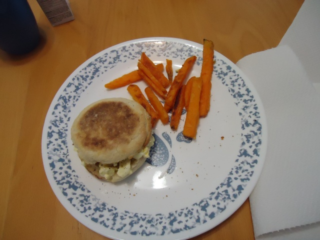 egg salad on english muffin sweet potato fries linda randall community house fe