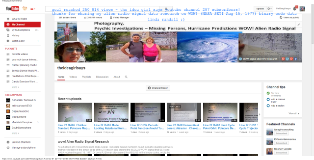 theideagirlsays - YouTube goal reached 250,814 views 287 subscribers linda randall 1 apr 2014