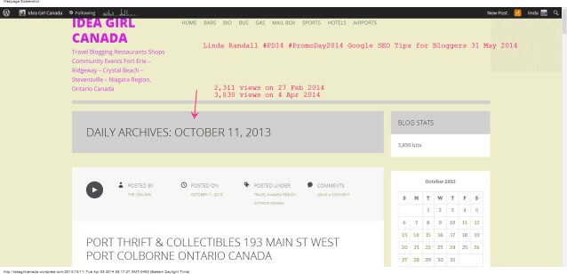 11   October   2013   Idea Girl Canada with 3830 views 4 apr 2014 linda randall #PD14 Google SEO Tips for Bloggers #PROMODAYEVENT 2014