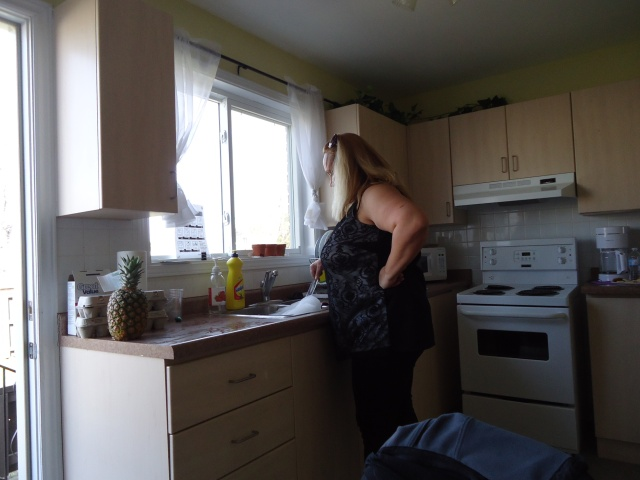 barb helps doing dishes