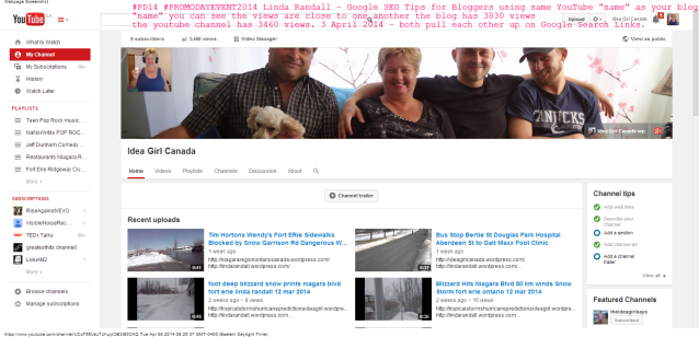 Idea Girl Canada - YouTube (1) same name as blog on wordpress Google Links pull each other up #PD14 tip 3 linda randall