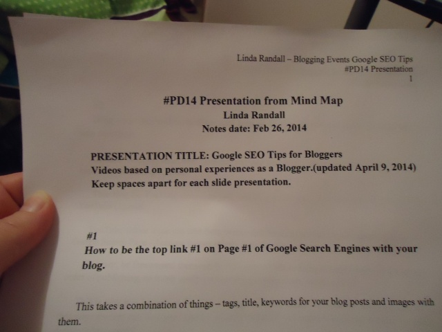 #PD14 Presentation notes Mind Map Linda Randall #1 How to be the top link #1 on Page #1 of Google Search Engines with your blog