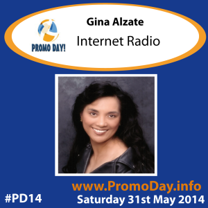 #PD14 presenter banner Gina Alzate - Internet Radio Promo Day Event 31 may 2014