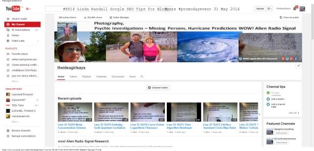 theideagirlsays - YouTube linda randall #PD14 #promoday Google SEO Tips for Bloggers 31 May 2014