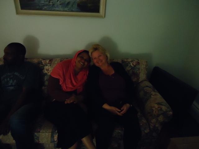 linda randall and new sudan african mother having tea together 5 jun 2014