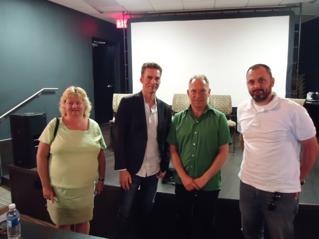 linda-randall-with-omdc-industry-panel-bobby-roth-niff-2014-jerry-distributor-tim-dir-the-birder-cam-haynes-from-windsor-ont