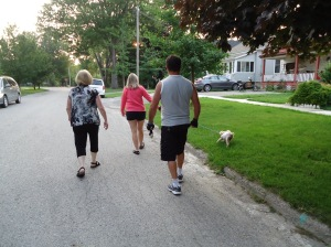 Judy Tracy Harry Daisy Linda Walking in 200 year old Victoria Home Area St Thomas Ontario Canada